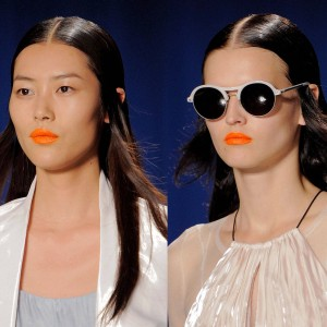 make-up artist orange lipstick